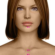 CV24 Conception Vessel Meridian Acupuncture Point - Dermal / Skin level.