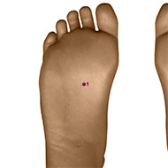 KD01 Kidney Meridian Acupuncture Point - Dermal / Skin level.