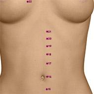 KD19 Kidney Meridian Acupuncture Point - Dermal / Skin level.