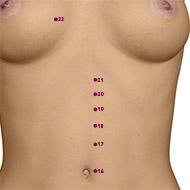 KD20 Kidney Meridian Acupuncture Point - Dermal / Skin level.