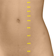 ST26 Stomach Meridian Acupuncture Point - Dermal / Skin level.